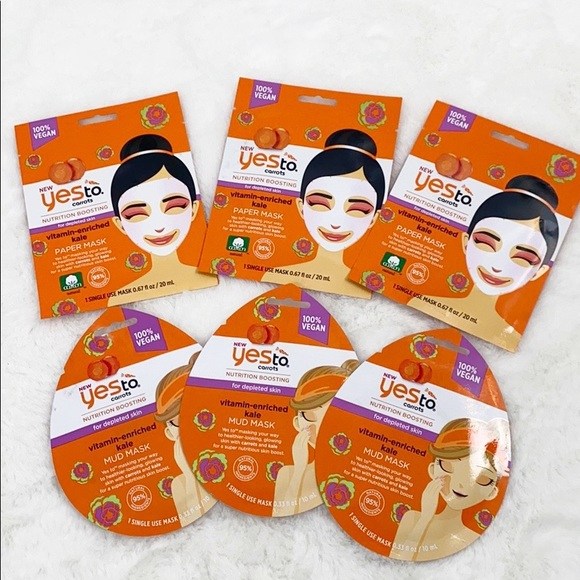 Yes To Other - Yes To Facial Mask Carrots Lot of 6, 100%Vegan